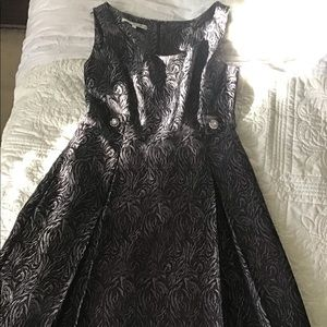 Sleeveless Brocade Black Dress